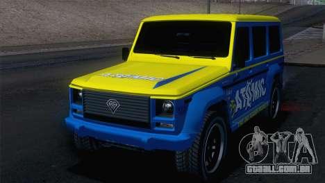 GTA 5 Benefactor Dubsta para GTA San Andreas traseira esquerda vista