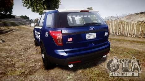 Ford Explorer 2013 LCPD [ELS] v1.0L para GTA 4 traseira esquerda vista