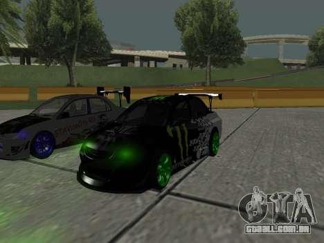Mitsubishi Lancer Evo 9 Monster Energy para GTA San Andreas esquerda vista