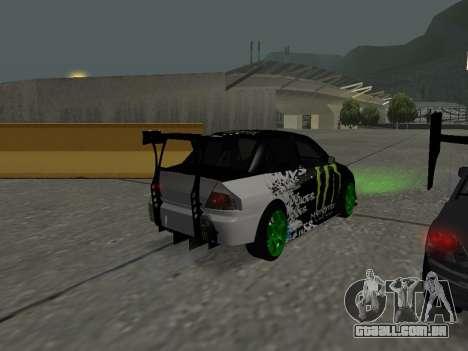Mitsubishi Lancer Evo 9 Monster Energy para GTA San Andreas vista direita