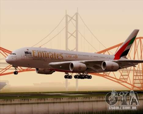 Airbus A380-800 Emirates 40 Anniversary Sticker para GTA San Andreas esquerda vista