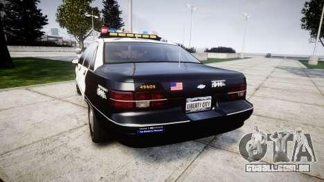 Chevrolet Caprice 1991 LAPD [ELS] Traffic para GTA 4 traseira esquerda vista