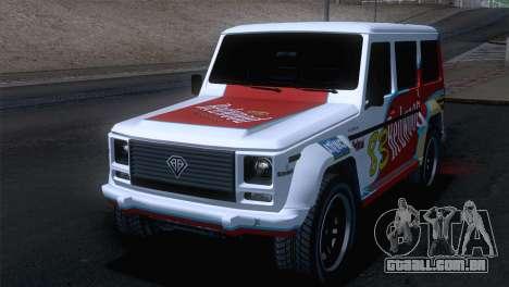 GTA 5 Benefactor Dubsta para GTA San Andreas vista interior