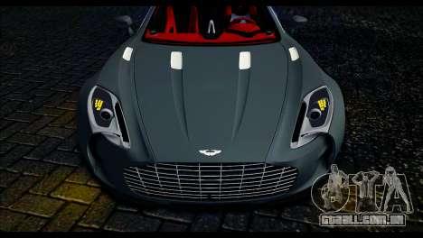 Aston Martin One-77 Red and Black para GTA San Andreas traseira esquerda vista