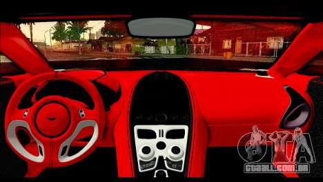 Aston Martin One-77 Red and Black para GTA San Andreas vista traseira