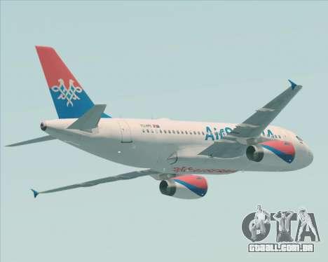 Airbus A319-100 Air Serbia para GTA San Andreas vista traseira