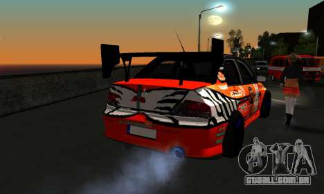 Mitsubishi Lancer Evo 9 Kumakubo Team Orange para GTA San Andreas vista traseira