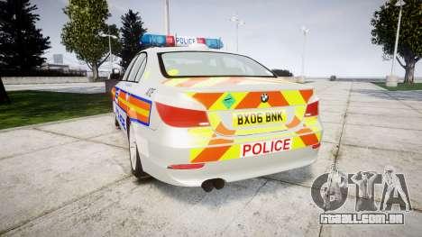 BMW 525d E60 2006 Police [ELS] para GTA 4 traseira esquerda vista