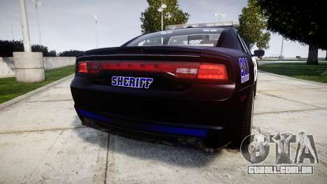 Dodge Charger RT 2014 Sheriff [ELS] para GTA 4 traseira esquerda vista