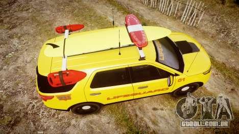 Ford Explorer 2013 Lifeguard Beach [ELS] para GTA 4 vista direita