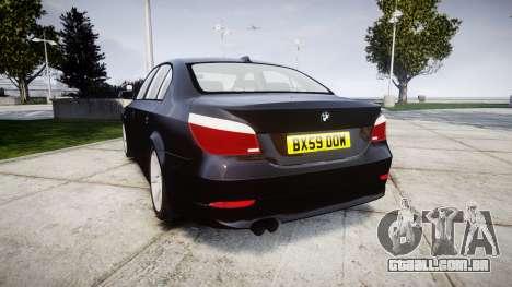 BMW 525d E60 2009 Police [ELS] Unmarked para GTA 4 traseira esquerda vista