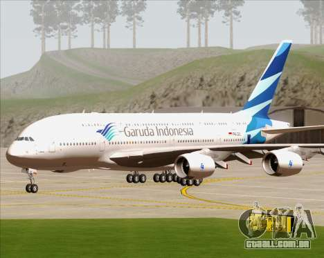Airbus A380-800 Garuda Indonesia para GTA San Andreas vista traseira