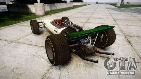 Lotus Type 49 1967 [RIV] PJ21-22 para GTA 4 traseira esquerda vista