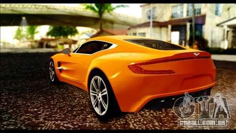 Aston Martin One-77 Black para GTA San Andreas esquerda vista