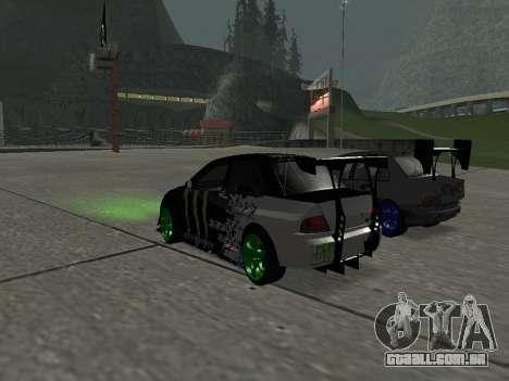 Mitsubishi Lancer Evo 9 Monster Energy para GTA San Andreas traseira esquerda vista