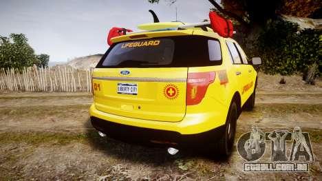 Ford Explorer 2013 Lifeguard Beach [ELS] para GTA 4 traseira esquerda vista