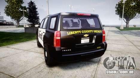 Chevrolet Tahoe 2015 County Sheriff [ELS] para GTA 4 traseira esquerda vista