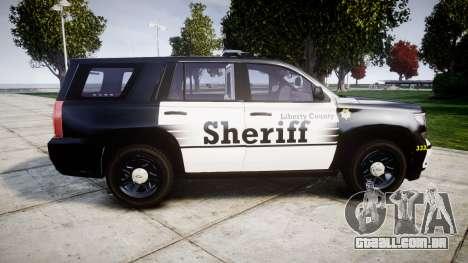 Chevrolet Tahoe 2015 County Sheriff [ELS] para GTA 4 esquerda vista
