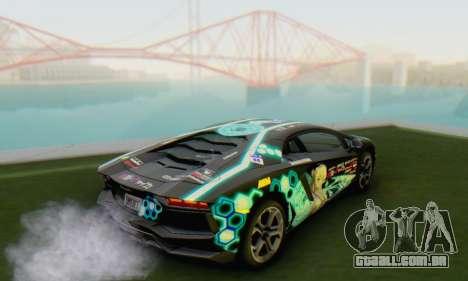Itasha PJ from Lamborghini Aventador LP700-4 para GTA San Andreas esquerda vista