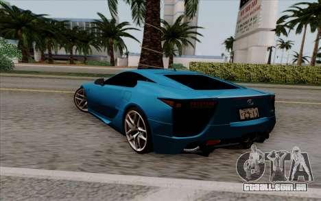 Lexus LF-A 2010 para GTA San Andreas esquerda vista