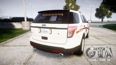 Ford Explorer 2013 Police Interceptor [ELS] para GTA 4 traseira esquerda vista