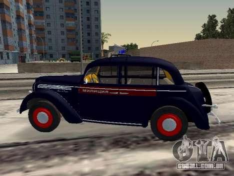 Moskvich 400 Policiais para GTA San Andreas esquerda vista