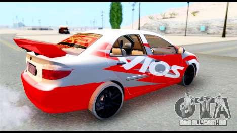 Toyota Vios TRD Racing para GTA San Andreas vista direita