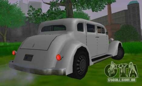 Hustler Limousine para GTA San Andreas traseira esquerda vista