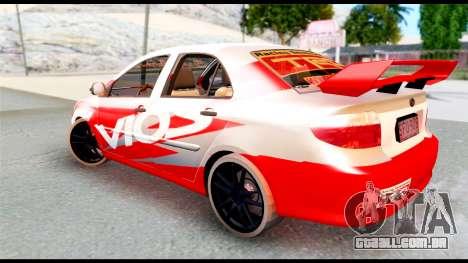Toyota Vios TRD Racing para GTA San Andreas esquerda vista