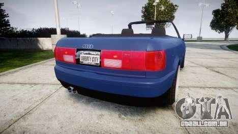 Audi 80 Cabrio us tail lights para GTA 4 traseira esquerda vista