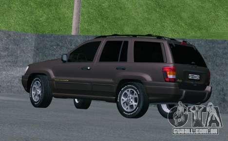 Jeep Grand Cherokee WJ para GTA San Andreas vista direita