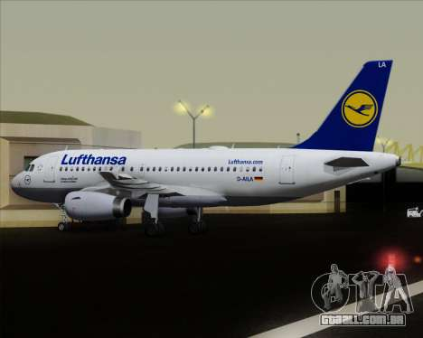 Airbus A319-100 Lufthansa para GTA San Andreas vista inferior