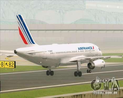 Airbus A319-100 Air France para GTA San Andreas vista inferior