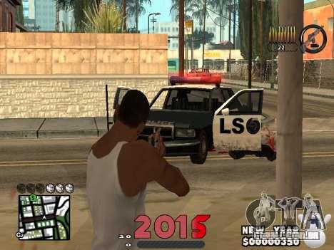 CLEO HUD New Year 2015 para GTA San Andreas por diante tela