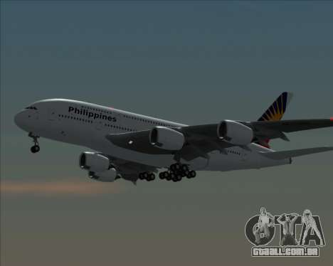 Airbus A380-800 Philippine Airlines para GTA San Andreas traseira esquerda vista