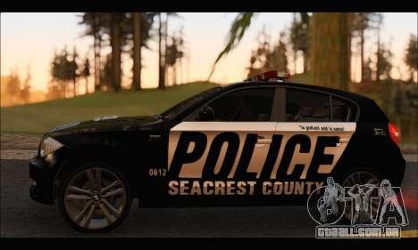 BMW 120i USA Police para GTA San Andreas traseira esquerda vista