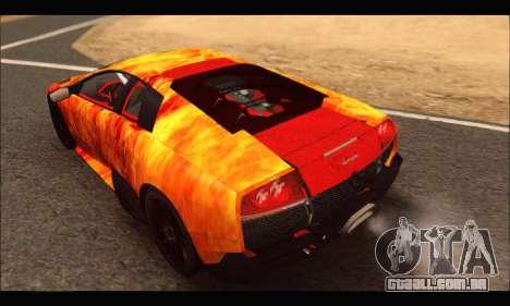 Lamborghini Murcielago In Flames para GTA San Andreas vista direita