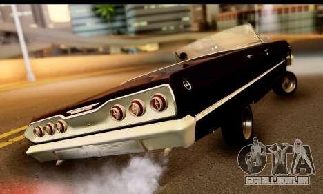 Chevrolet Impala 1963 para GTA San Andreas traseira esquerda vista