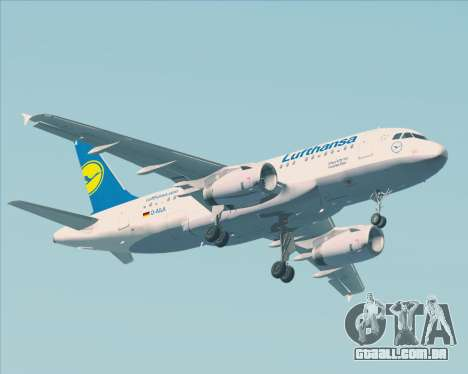 Airbus A319-100 Lufthansa para vista lateral GTA San Andreas