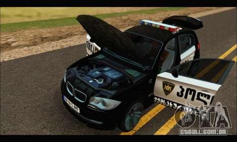 BMW 120i GEO Police para GTA San Andreas vista interior