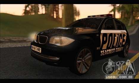 BMW 120i USA Police para GTA San Andreas esquerda vista