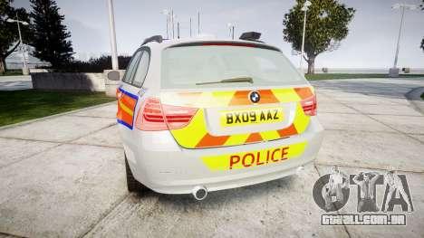BMW 325d E91 2009 Metropolitan Police [ELS] para GTA 4 traseira esquerda vista
