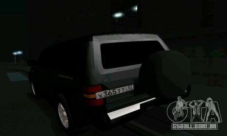 Mitsubishi Pajero Intercooler Turbo 2800 para GTA San Andreas interior
