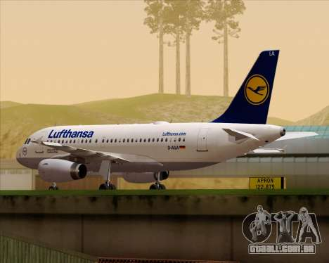 Airbus A319-100 Lufthansa para GTA San Andreas esquerda vista