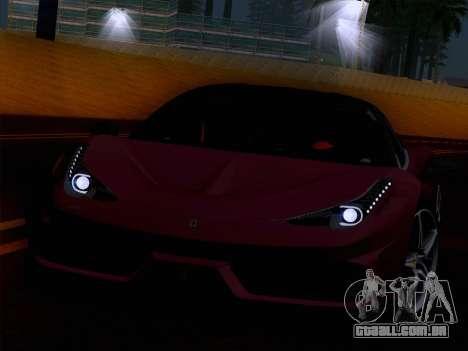 Ferrari 458 Special para GTA San Andreas vista traseira