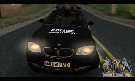 BMW 120i USA Police para GTA San Andreas vista direita