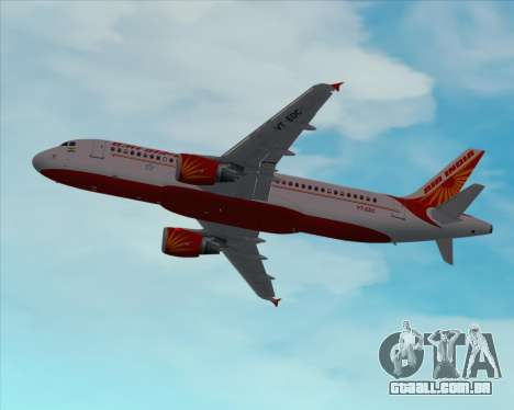 Airbus A320-200 Air India para GTA San Andreas vista inferior