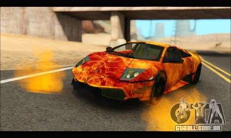 Lamborghini Murcielago In Flames para GTA San Andreas traseira esquerda vista