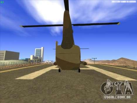 GTA 5 Cargobob para GTA San Andreas traseira esquerda vista