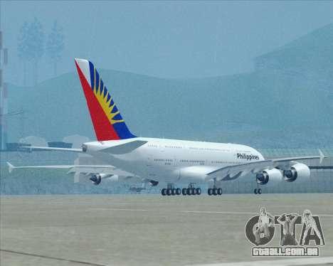 Airbus A380-800 Philippine Airlines para GTA San Andreas vista superior